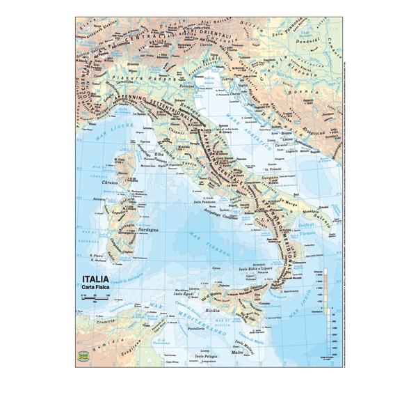 Cartina Italia Javascript.Carta Geografica Italia Scolastica Plastificata 297x420 Mm Belletti Gey Cart